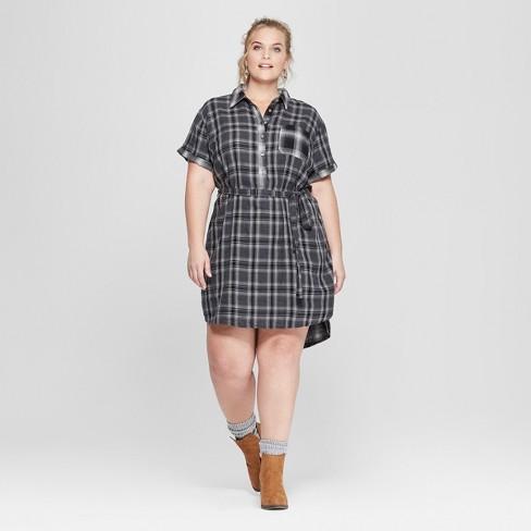 c2660e42fe9 Women s Plus Size Plaid Short Sleeve Shirtdress - Universal Thread™ Black    Target