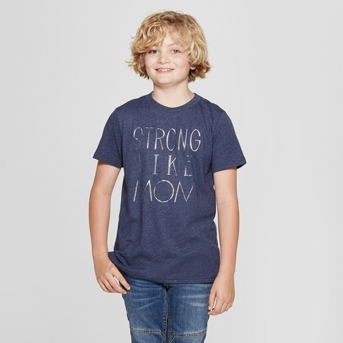 Boys' Short Sleeve Strong Like Mom Graphic T-Shirt - Cat & Jack™ Blue - image 1 of 3