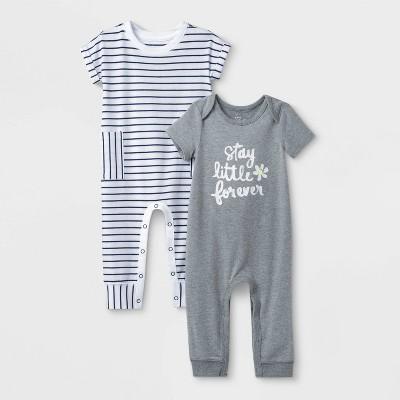 Baby Girls' 2pk Striped Romper - Cat & Jack™ Gray 3-6M