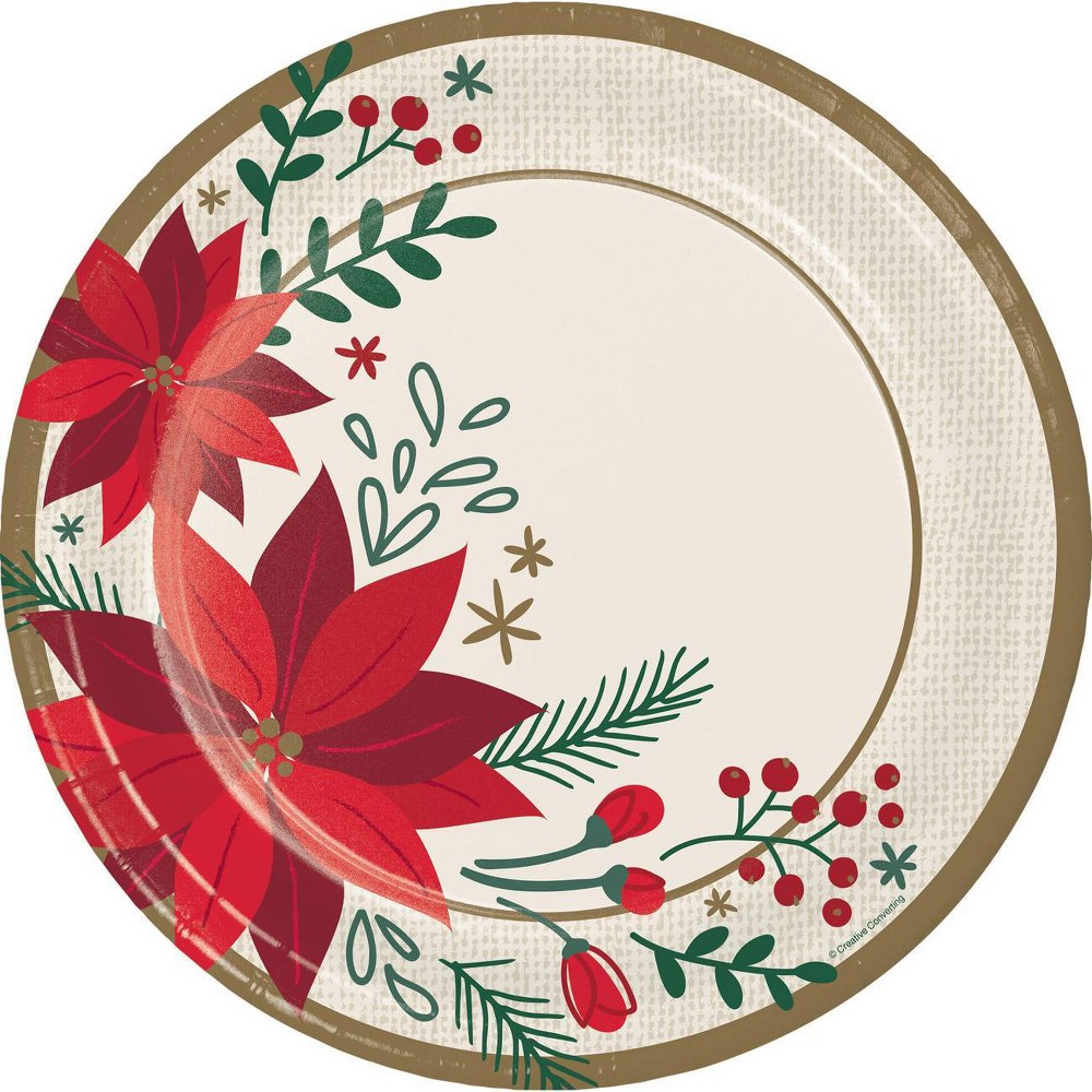 Image of 24ct Modern Poinsettia Banquet Plates