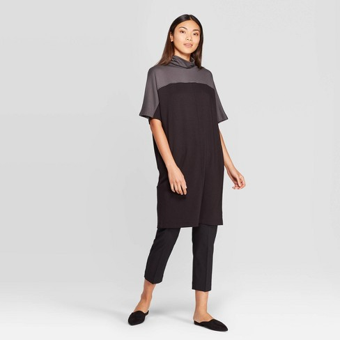 Women's Elbow Sleeve Turtleneck T-Shirt Dress - Prologue™ Black - image 1 of 3