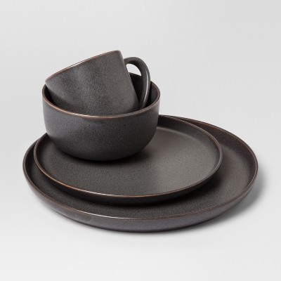 Tilley Stoneware 16pc Dinnerware Set Black - Project 62™