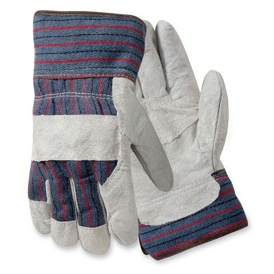 Wells Lamont Palm Safety Glove Large Leather Gray/Blue 847532L