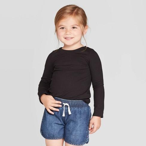Toddler Girls' Long Sleeve T-Shirt - Cat & Jack™ Black - image 1 of 3