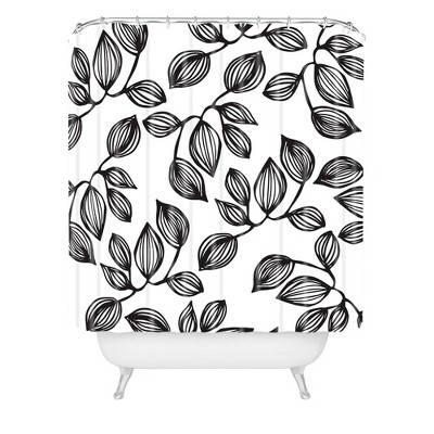 Julia Da Rocha Leaves Shower Curtain Black/White - Deny Designs