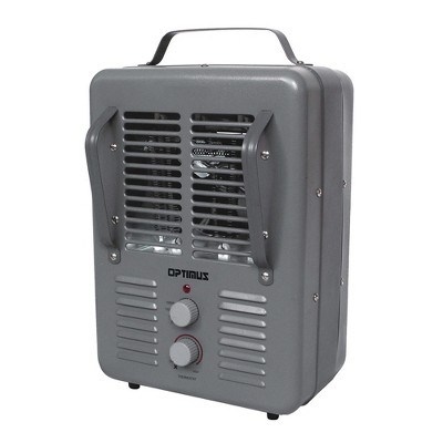 Optimus H-3013 Portable Indoor Electric Utility Room Heater with Automatic Thermostat Control and Fan Function for Indoor Home Space Heating, Gray
