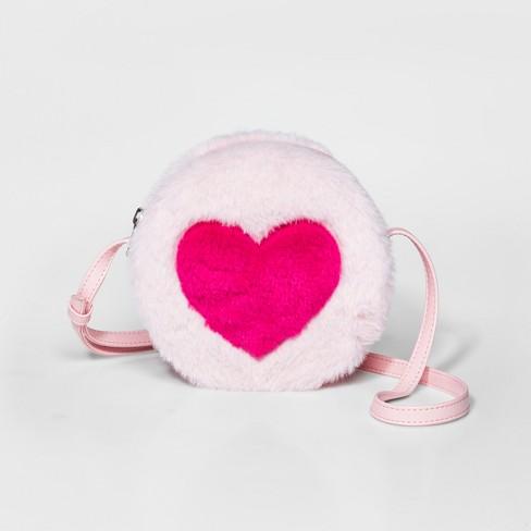 ea0560275d Girls  Furry Heart Crossbody Bag - Cat   Jack™ Pink   Target