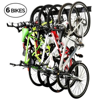 RaxGo Garage Bike Rack, Wall mounted Bicycle Storage Hanger, 6 Adjustable Hooks Universal for Indoor & Home Use