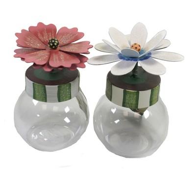 """Home Decor 6.5"""" Fancy Flower Bubble Jars Hand Painted  -  Decorative Jars"""