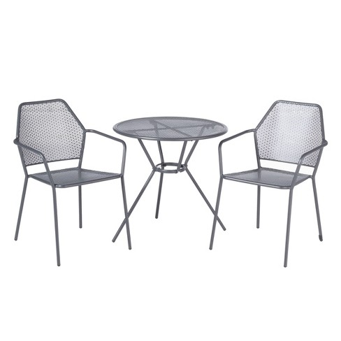 3pc Wrought Iron Martini Dining Bistro Set with Round Table & 2 Stackable Chairs - Gray - Alfresco Home - image 1 of 4
