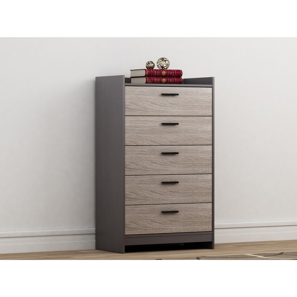 Image of Emerson 5 Drawer Chest Dark Brown/Dark Blonde Brown - Loft 607