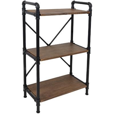 Sunnydaze 3 Shelf Industrial Style Pipe Frame Freestanding Bookshelf with Wood Veneer Shelves - Teak