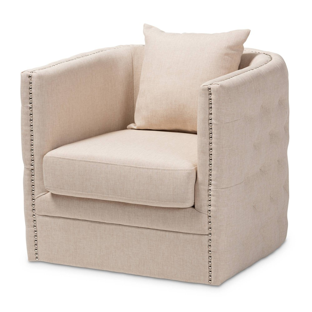 Micah Fabric Upholstered Tufted Swivel Chair Beige - Baxton Studio