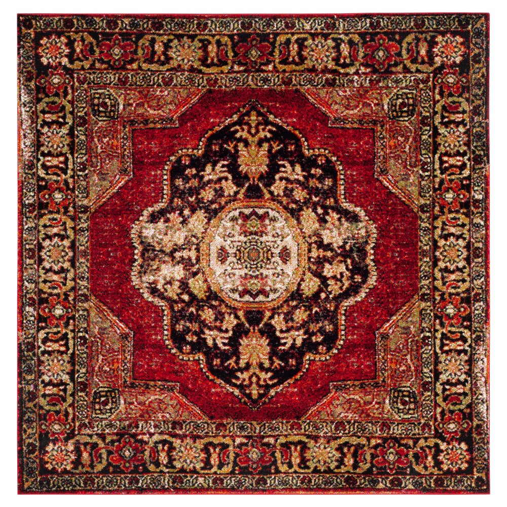 Red/Multi Abstract Loomed Square Area Rug - (6'7