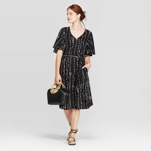 Women's Regular Fit Elbow Sleeve V-Neck Tie-Waist Woven Dress - A New Day™ Black/White - image 1 of 3