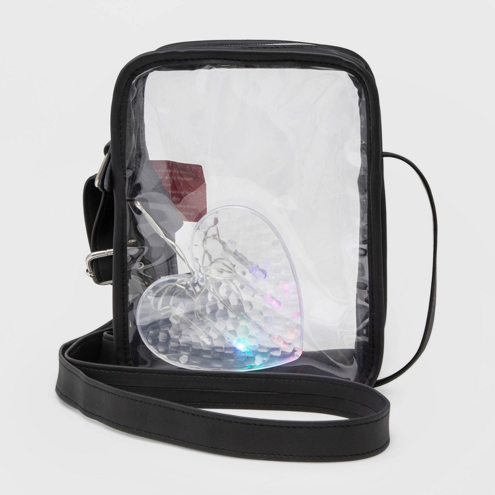 Image of Stella & Max Clear Crossbody Bag With Light Up Heart - Black
