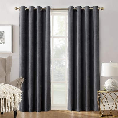 Sun Zero Manor Chenille Velvet 100% Extreme Blackout Grommet Curtain Panel Smoke 52 x95