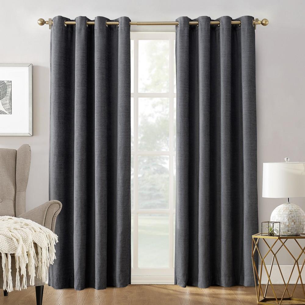 Sun Zero Manor Chenille Velvet 100% Extreme Blackout Grommet Curtain Panel Smoke (Grey) 52