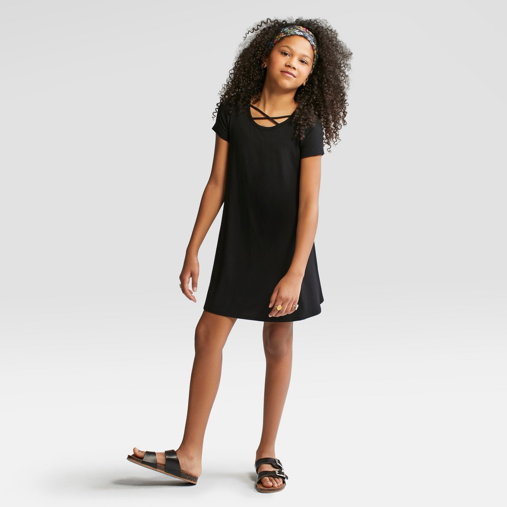 Girls' Short Sleeve Strappy Neck Dress - art class Black S