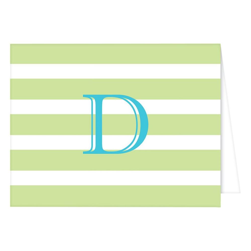 RosanneBECK Collections Light Green Folded Notes - Cabana Stripe Monogram - D