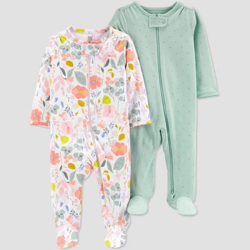 Baby Girls' 2pk Floral Sleep N' Play - Just One You® made by carter's Green/White - image 1 of 3