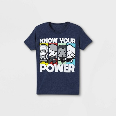 Boys' Marvel 'Know Their Power' Short Sleeve Graphic T-Shirt - Blue