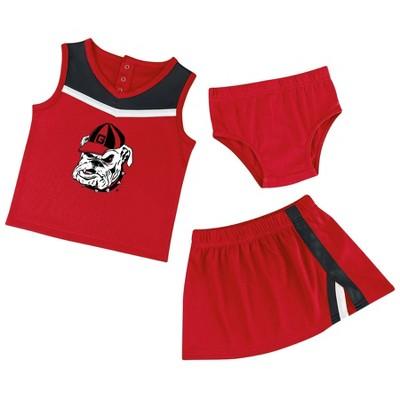 NCAA Georgia Bulldogs Baby Girls' 3pc Cheer Set