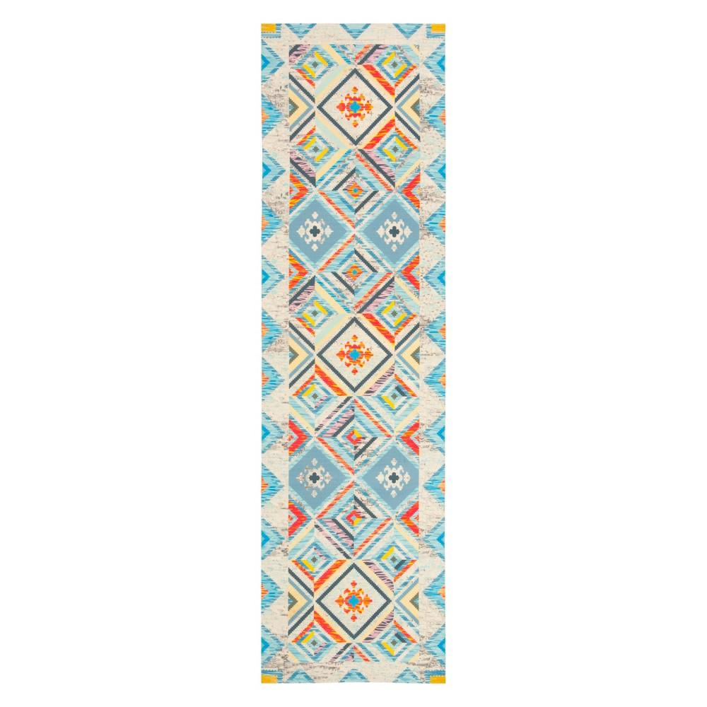 2'2X8' Tribal Design Loomed Runner Blue/Light Gray - Safavieh