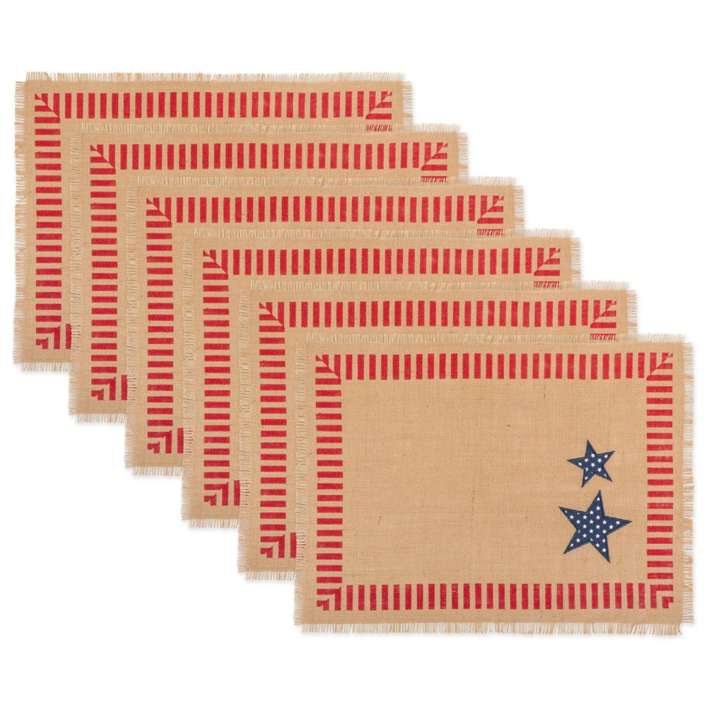Image of 6pk 4th of July Jute Placemat Tan/Red - Design Imports