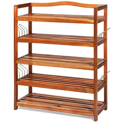 Costway 5-Tier Wood Shoe Rack Freestanding Shoe Storage Organizer Heavy-duty