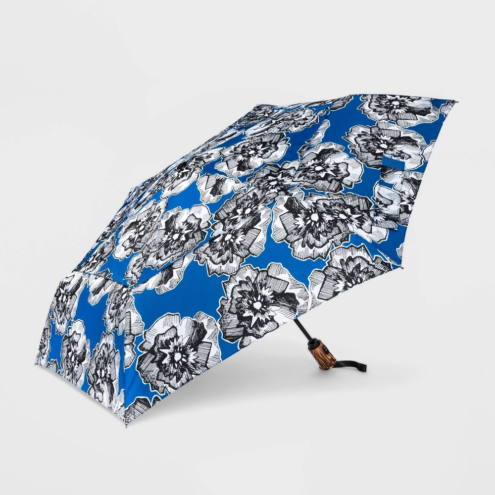 Image of Cirra by ShedRain Floral Print Women's Air Vent Auto Open Close Compact Umbrella - Blue, Adult Unisex, Size: Small