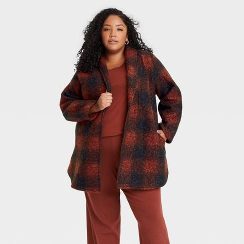 Women's Plus Size Cardigan Coat - Ava & Viv™ Plaid - image 1 of 3