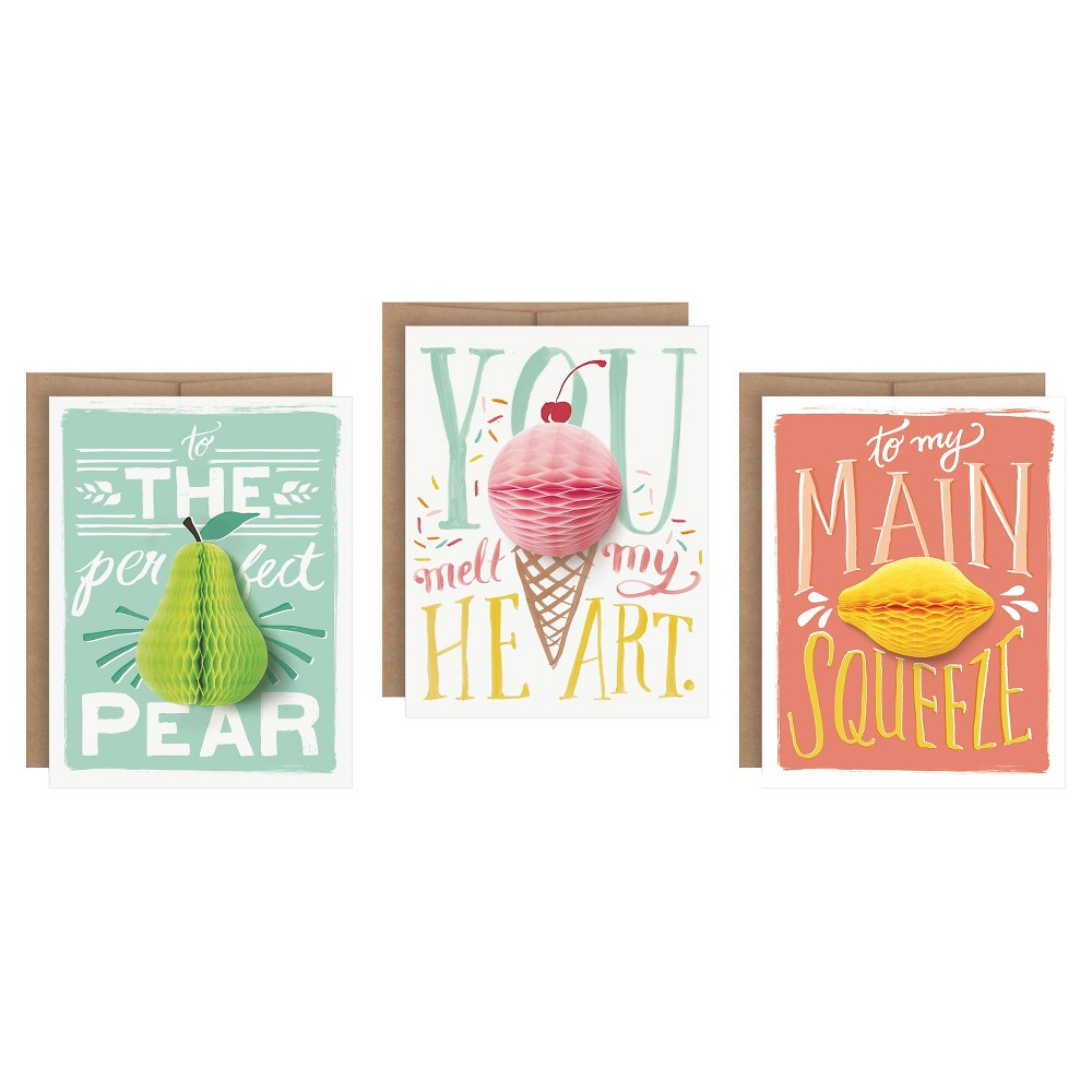 Image of 3ct Fruit Pop-up Greeting Cards