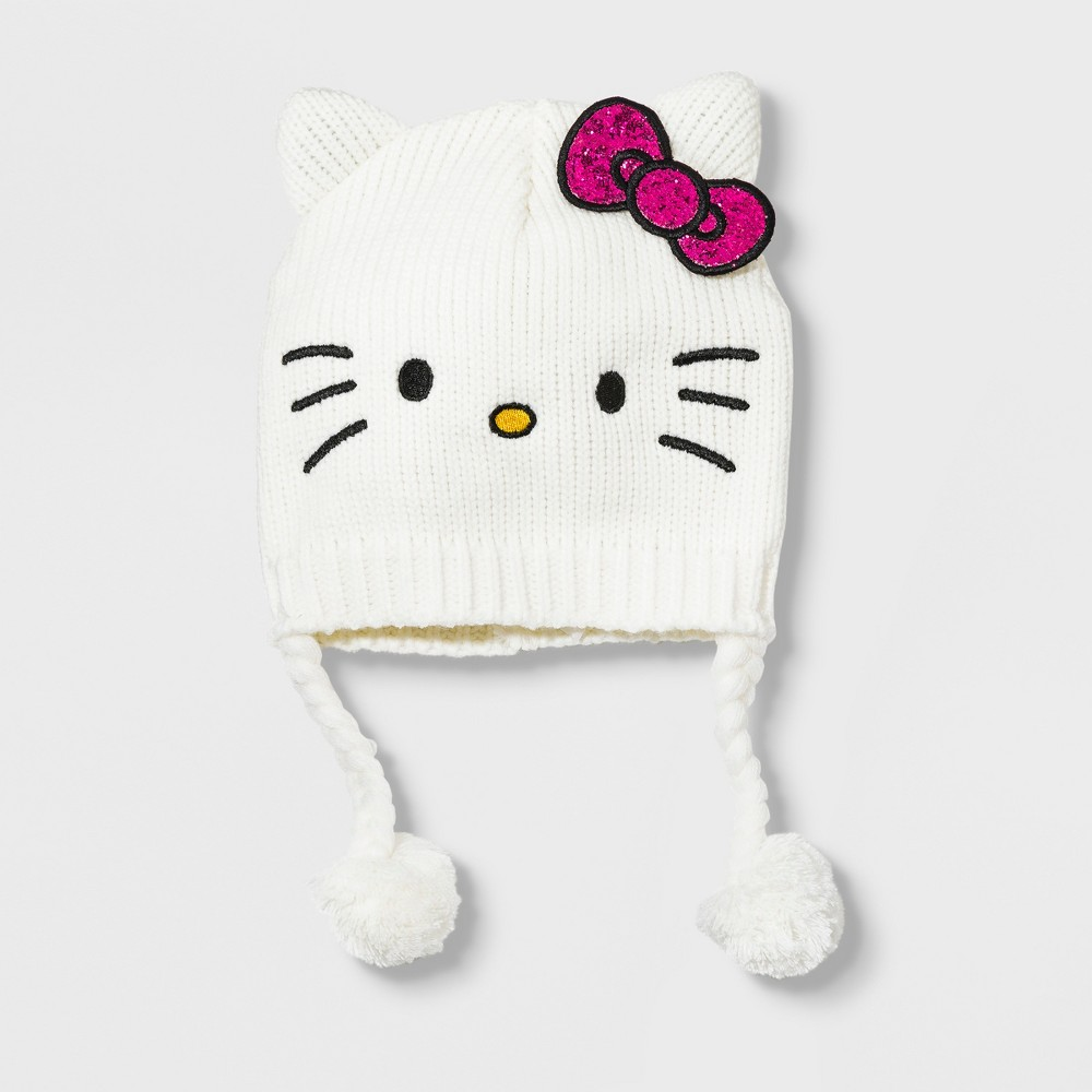 Image of Girls' Hello Kitty Hat - White One Size, Girl's