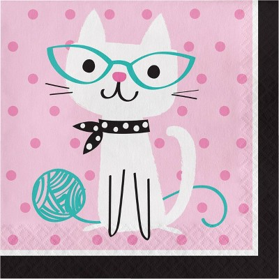 48ct Cat Print Party Napkins