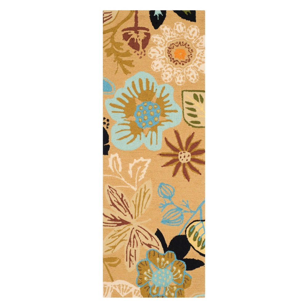 2 3 X6 Floral Runner Taupe Safavieh
