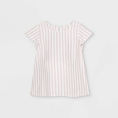 Maternity Striped Flutter Short Sleeve with Tie-Waist Woven Top - Isabel Maternity by Ingrid & Isabel™