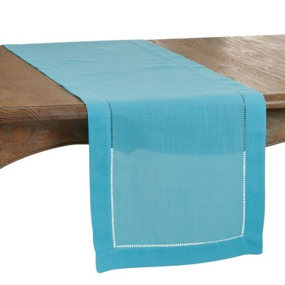 "120"" x 20"" Polyester Hemstitch Border Table Runner Blue - Saro Lifestyle"