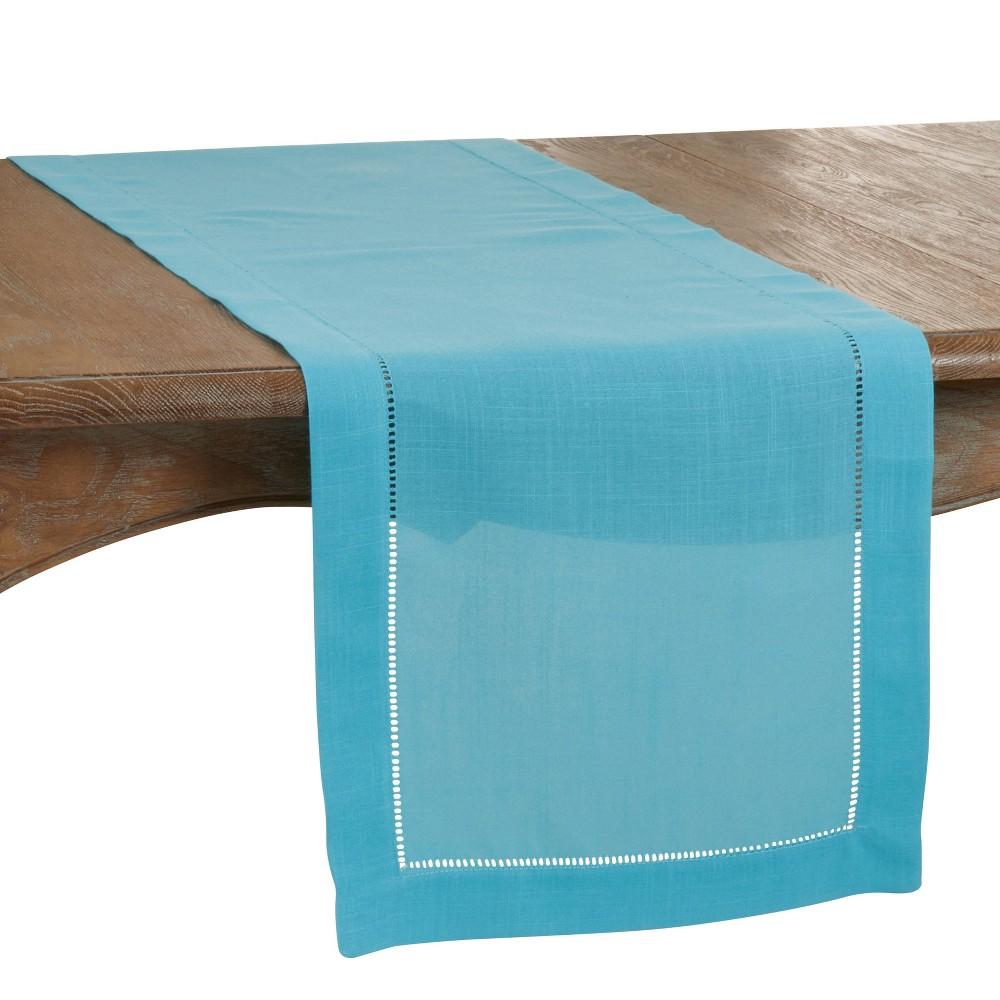 "120"" X 20"" Polyester Hemstitch Border Table Runner Blue Saro Lifestyle"