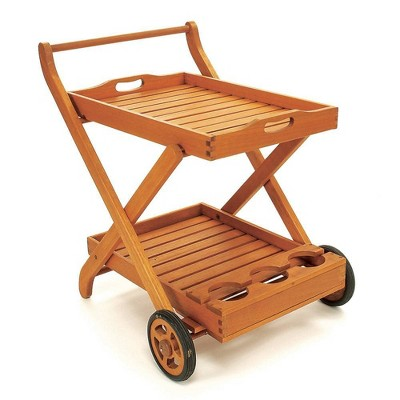 "31"" Eucalyptus Rectangular Classic Outdoor Serving Cart Natural Oil Finish - ACHLA Designs"