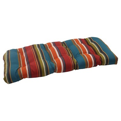 Outdoor Wicker Loveseat Cushion - Brown/Red/Teal Stripe