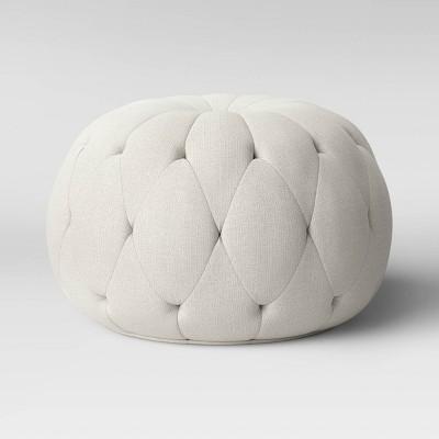 Annandale Round Tufted Pouf Cream - Threshold™