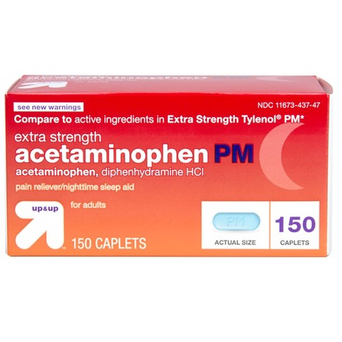 Acetaminophen PM Extra Strength Pain Reliever/Nighttime Sleep Aid Caplets - Up&Up™ - image 1 of 4