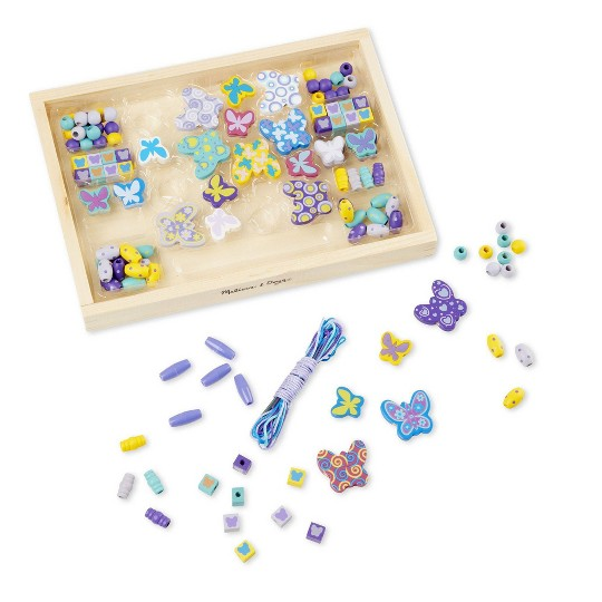 Melissa & Doug Sweet Hearts and Butterfly Friends Bead Set of 2 - 250+ Wooden Beads, Adult Unisex image number null