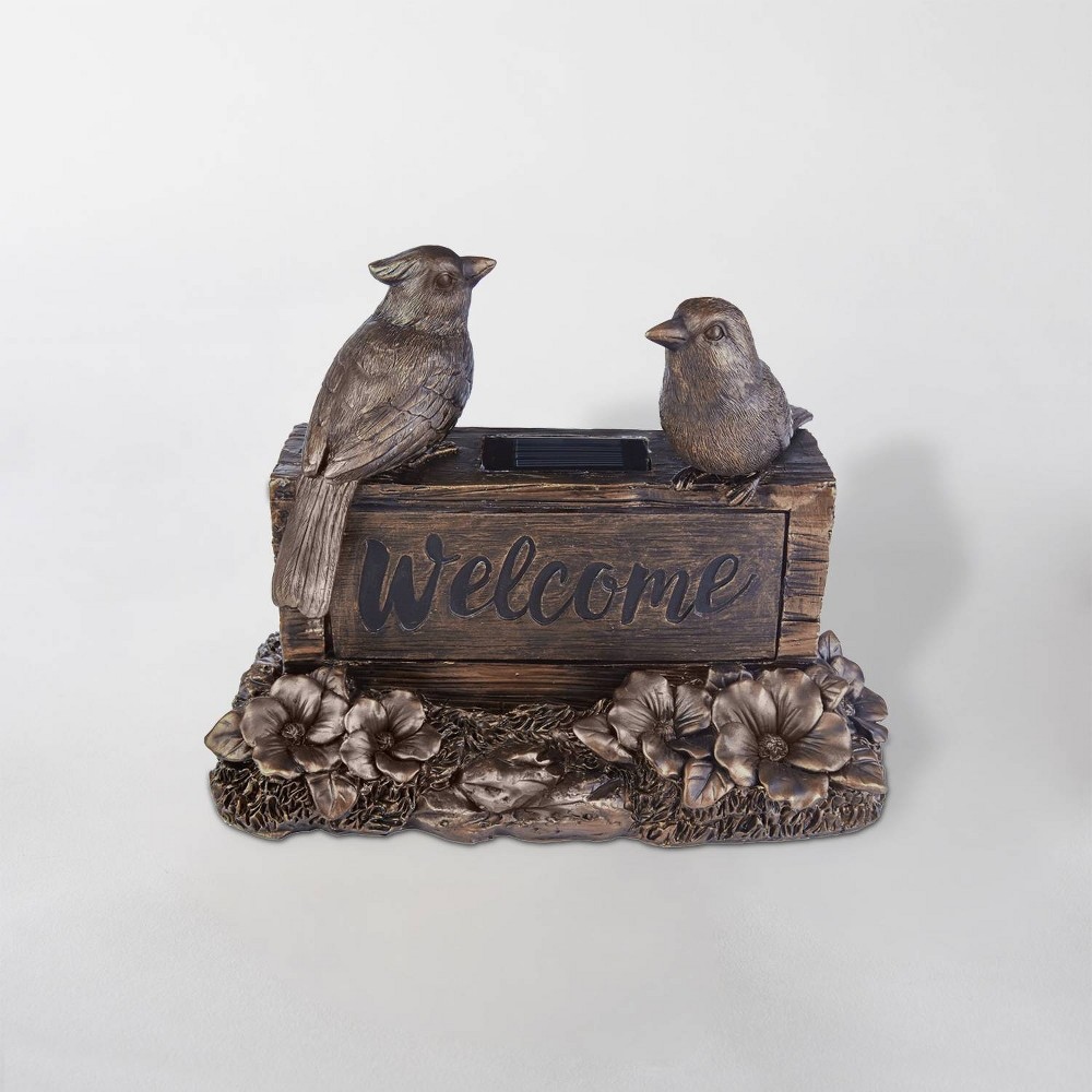 "Image of ""10"""" LED Solar Welcome Birds Sign Brown - Smart Solar"""