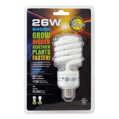 SunBlaster SL0900156 Fluorescent CFL 6400K Self-Ballasted Light Bulb for Indoor Grow Lights and Hydroponic Systems, 26 Watts