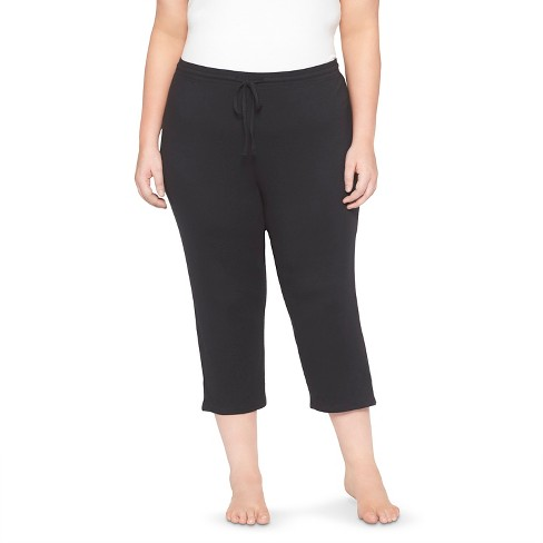 Women's Plus Pajama Knit Crop Total Comfort - Gilligan & O'Malley - Black 3X - image 1 of 2