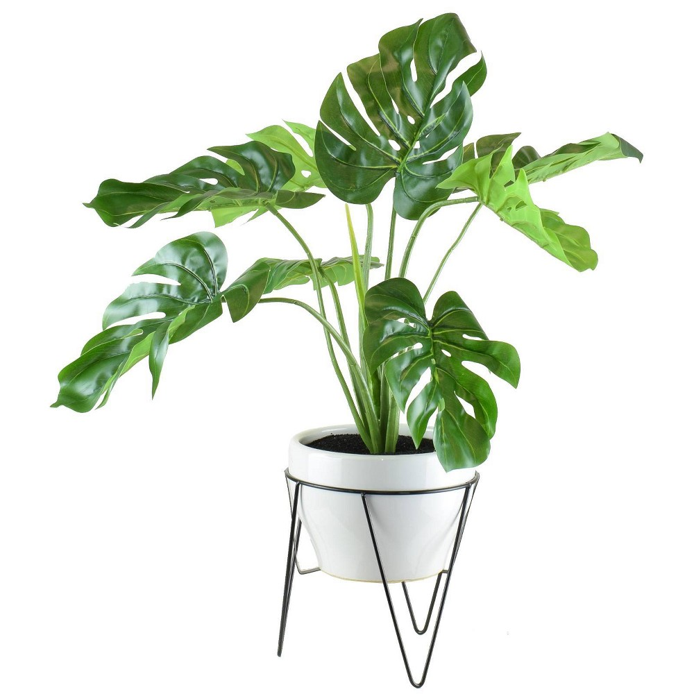 "Image of ""28"""" x 18"""" Artificial Monstera in Mid Century Stand Green/White - LCG Florals"""