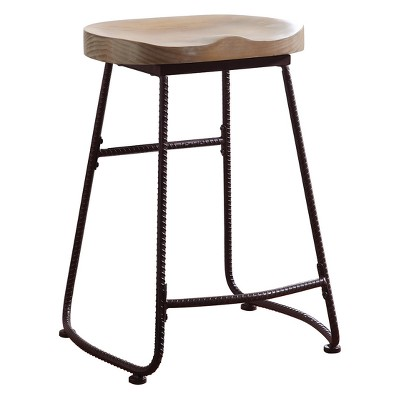 """Private Reserves 24"""" Counter Height Stool Driftwood with Dark Bronze Metal"""