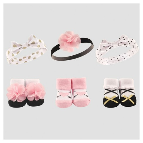 Hudson Baby Girls  Headband And Sock Gift Set - Pink   Target c6949be816f